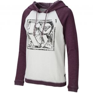 NWT Roxy hoodie. White and grape wine color